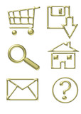 gold website icons - shopping cart, email, home, d poster