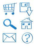 blue website icons - shopping cart, email, home, d poster