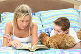 mother and son reading time poster