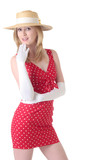 attrative blond woman in cute red polka dot dress poster