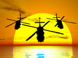 sunset helicopters poster