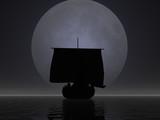 viking ship silhouette poster
