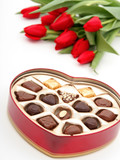 heart shaped box of candy and tulips poster