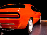 orange muscle car poster