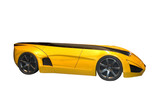 yellow futuristic concept car poster