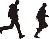 men running silhouette poster