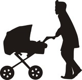 mamma with child in carriage poster