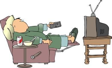 sick man watching tv