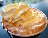 hot chocolate with wipped cream, closeup poster