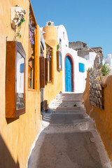 street in oia santorini greece