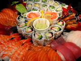 sushi party tray, closeup poster