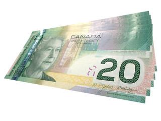 one hundred in twenty dollar bills canadian