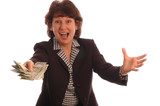 excited woman with cash poster