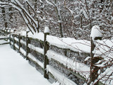 split  rail fence in winter poster