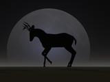 deer moon silhouette poster