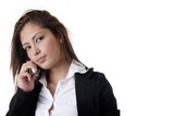 young business woman on cell phone poster