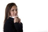 business woman holding collar poster