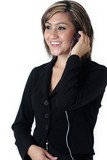 pretty receptionist wearing headset poster