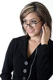 business woman wearing headset poster