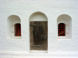door and windows in historical building poster