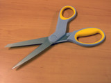 opened scissors with clipping path poster