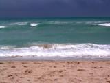 gloomy miami beach day poster