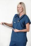 friendly nurse holding patient chart poster