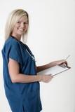 pretty nurse holding clipboard poster