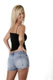 platinum blonde in tank tee and jean shorts poster