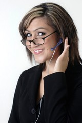 friendly receptionist in glasses
