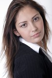 closeup of young woman in business attire poster
