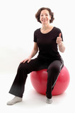 woman on fitness ball poster
