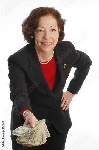 poster of business woman offering money