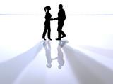 handshake - black silhouettes poster