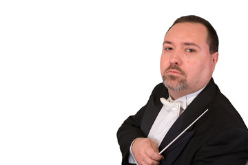serious orchestra conductor