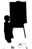 silhouette with clipping path of small boy paintin poster