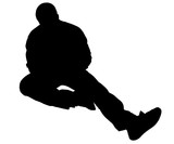 silhouette with clipping path of man sitting on fl poster
