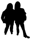 silhouette with clipping path of two teen girls st poster