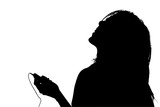 silhouette with clipping path of woman listening t poster