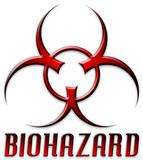 beveled red biohazard logo poster