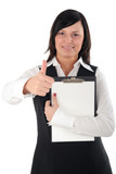 businesswoman with thumb up poster
