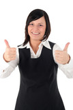 businesswoman with thumbs up poster