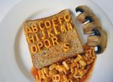 alphabet written on toast poster