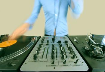 long exposure of funky female dj