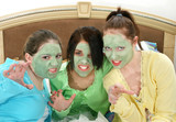 three teens in facial mask growling poster