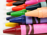Fototapeta macro profile shot of colorful crayons