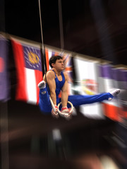 young gymnast on rings