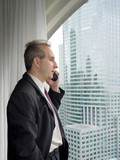 businessman by the window talking on the phone poster