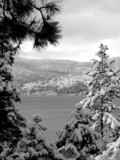 winter scene at lake tahoe, california poster