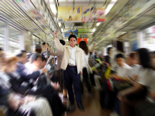 young man in a subway